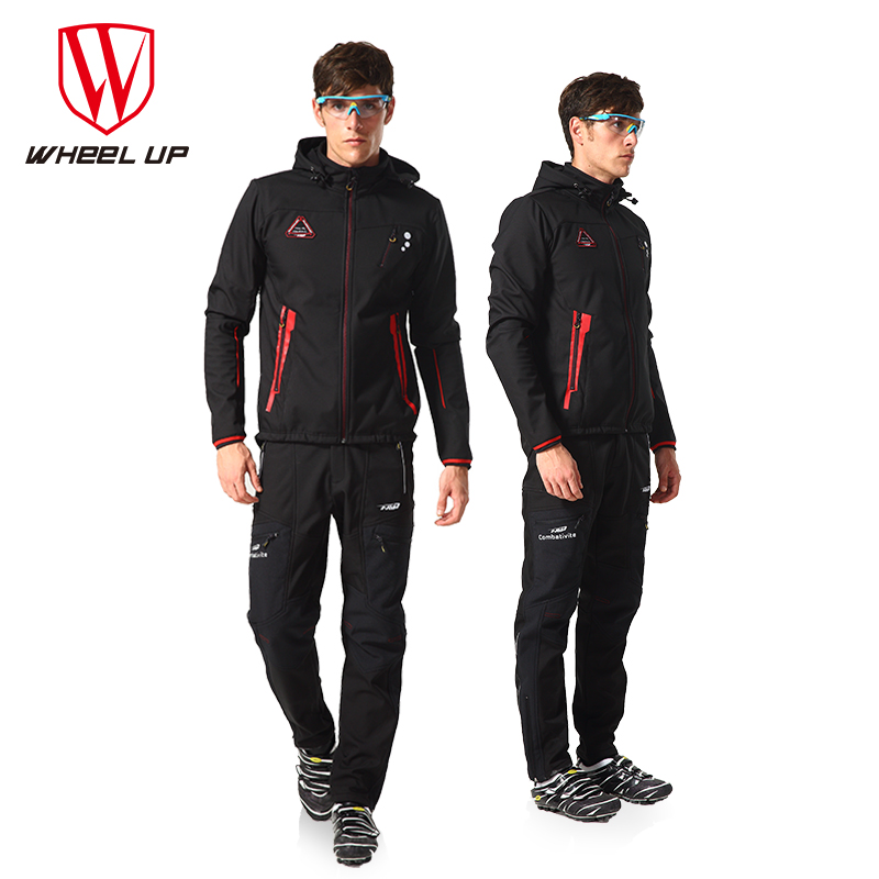 WHEEL UP Winter Cycling Jacket Thermal Fleece Pants Windproof Thickened MTB Bike Coats Bicycle Clothing Jersey Set Clothes Suit