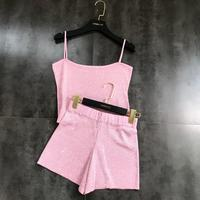 2019 Summer New Hot Drilling Camisole + Shiny Knit Shorts Ice Silk Two piece Suit for Women