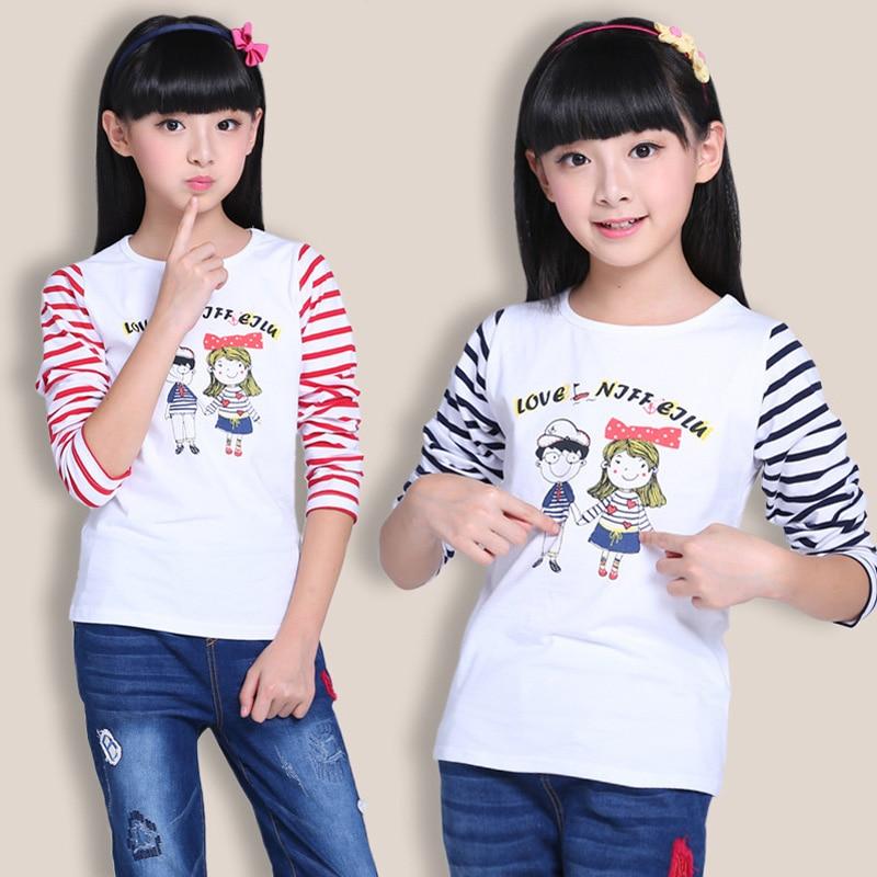 Children Long Sleeve Girls T-shirts Autumn Spring Tee Shirt Girl T Shirt Cotton Tshirt Kids 4 6 8 10 12 14