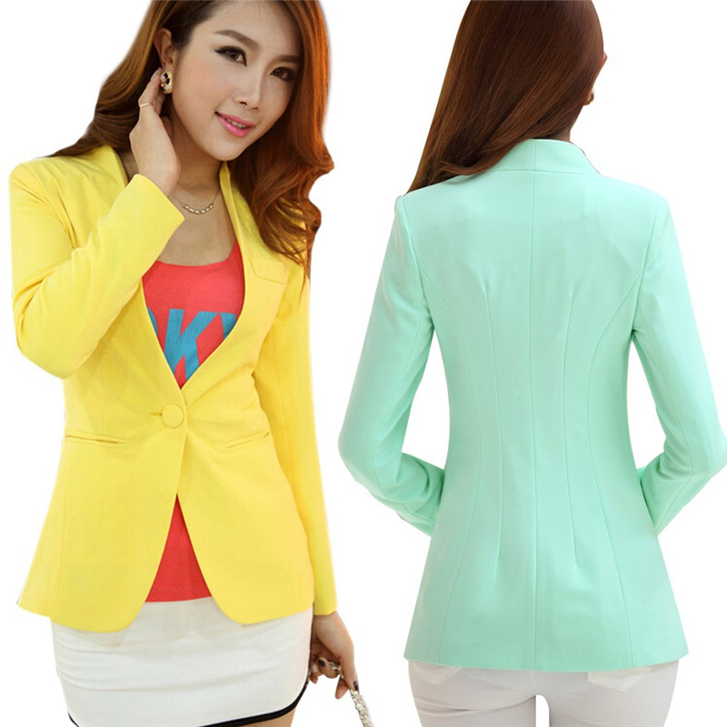Autumn Women Blazers And Jackets Candy Color Jacket Long Sleeve Slim Suit One Button Women Jacket Big Size S-2XL Blazer C1776
