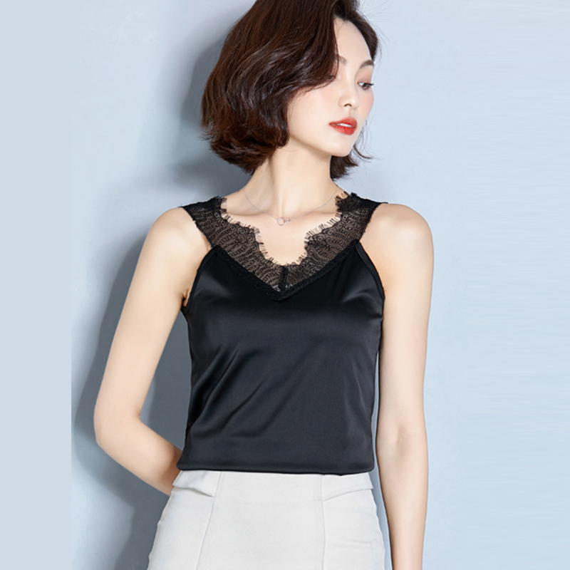 AOSSVIAO Camis Top Transparent-Top Satin Cropped Lace Streetwear Female Sexy Winter Women