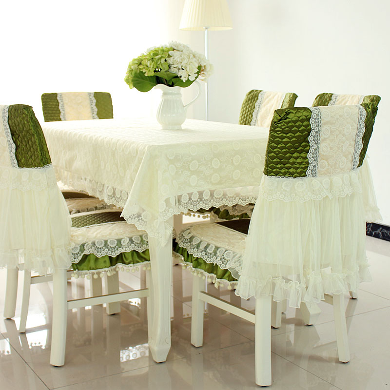 Chair Cover Quilting Gray Kitchen Covers Top Grade Cotton Jacquard Tablecloths Cloth Cushion Lace Set