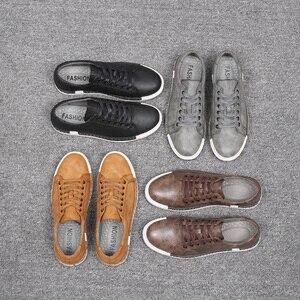 Image 5 - Mężczyźni buty ze skóry 2019 Cutlow mody czasu wolnego mężczyzna buty wygodne mężczyźni mieszkania w stylu Vintage buty dla męskie obuwie