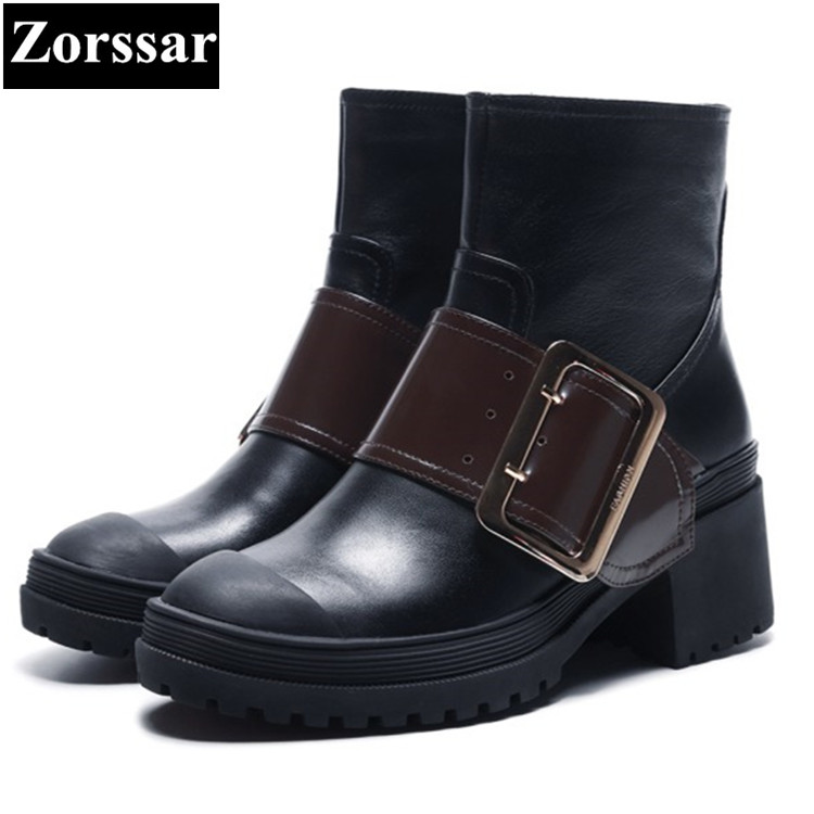 {Zorssar} 2018 NEW fashion buckle women boots Cow leather comfort Thick heel zipper High heels ankle boots winter women shoes zorssar brands 2018 new arrival fashion women shoes thick heel zipper ankle chelsea boots square toe high heels womens boots