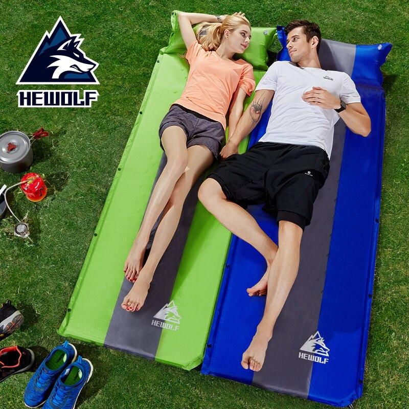 Hewolf tapis de Camping auto-gonflant coussins de couchage avec oreiller mémoire éponge épissé pique-nique plage matelas Portable tente lit tapis