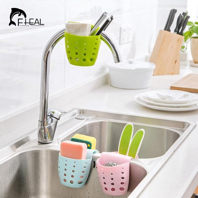 Kitchen Sink Sponge Holder.Fheal Kitchen Sink Sponge Holder Bag Two Sided Drain Dish Cloths