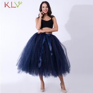 Sexy Skirt Tutu Tulle Fluffy White Long Blue High-Empire Adult Rok Mujer Moda 18jan16