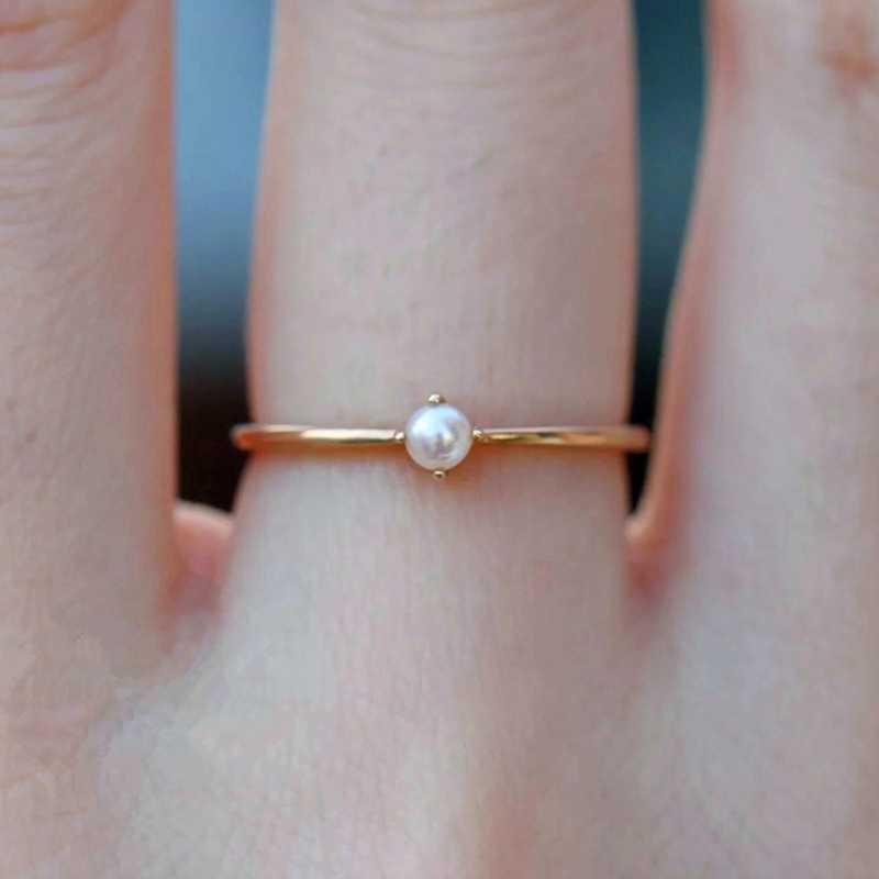 Mewah Wanita Mini Simulasi Mutiara Cincin Tipis Kecil Cincin Warna Emas Pernikahan Cincin Mahkota Slim Cincin