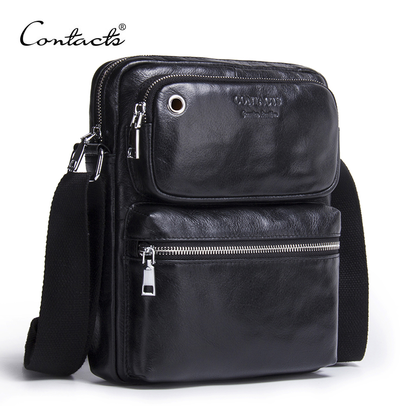 CONTACT'S Genuine Leather Men Bag Male Shoulder Crossbody Bags Messenger Small Flap Casual Handbags Commercial Briefcase Bag neweekend genuine leather bag men bags shoulder crossbody bags messenger small flap casual handbags male leather bag new 2761