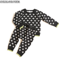 Knitting Baby Clothes Newborn Baby Clothing Set Autumn Winter Cross Baby Boys Clothes Sweater +Pants Infant Baby Knitted Clothes
