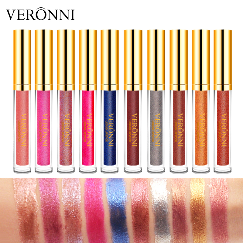 VERONNI Batom Matte Liquid Lip Gloss Tint Waterproof Make up Cosmetic LipGloss tube Beauty Glitter stick kit Long Lasting