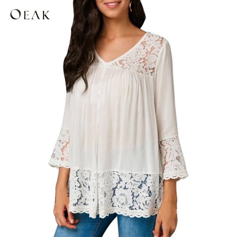 OEAK Sexy Lace Patchwork Autumn V-Neck   Blouses   Women Hollow Out   Blouse     Shirts   Elegant Women Plus Size 5XL Blusa Camisa
