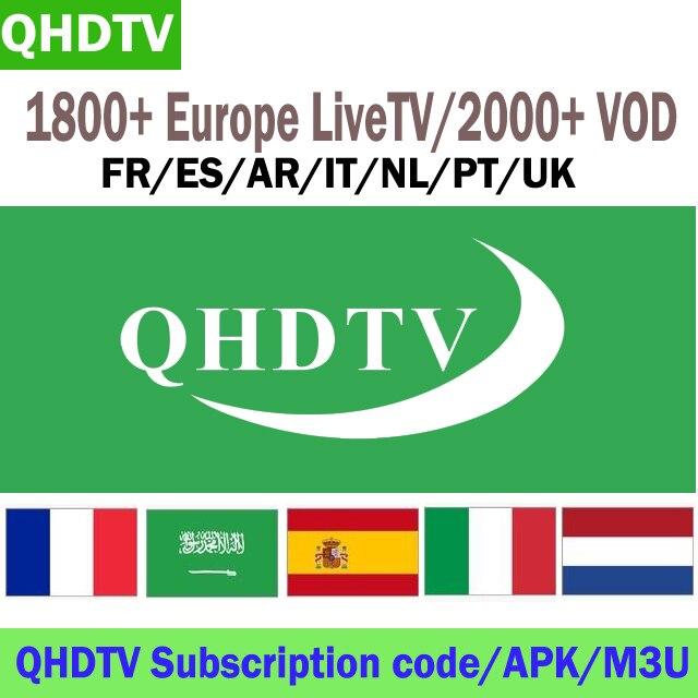 QHDTV 1 Ano Assinatura IPTV Canais Árabes Países Baixos Africano Francês Espanhol Europeu Para Android Caixa de TV Inteligente M3U