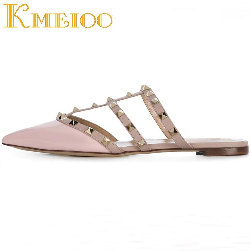 Spéciale Bout patent Appartements Fretwork black Chaussures Pink patent Pointu Casual Sur Kmeioo Pour Femmes Robe Mode Découpes gold pu Slip Diapositives Offre Rivets nF8w0xBqS5
