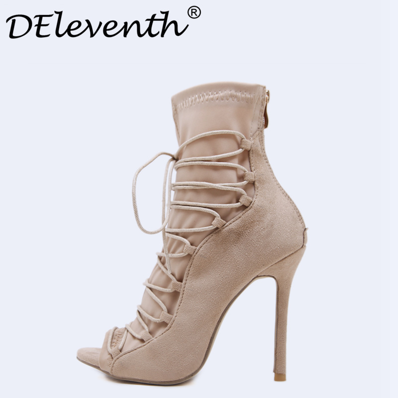 b720965e70f 2018 Fashion Women High Shoes Spring Summer Stiletto Thin High Heels Boots  Woman Ladies Shoes Ankle Boots Green Black Apricot-in Ankle Boots from Shoes  on ...