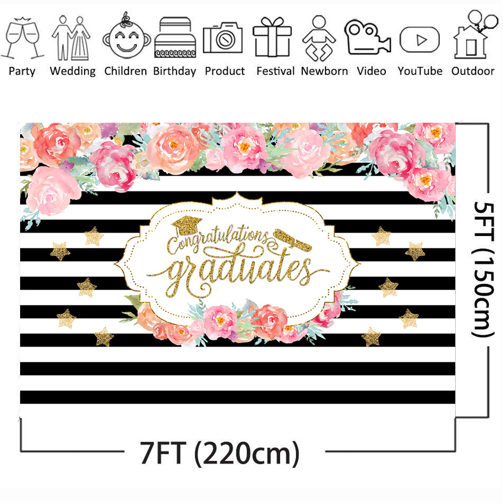 Neoback Congratulations Graduate Photography Backdrops Flower White and Black Background Graduate Party Banner Bachelor Cap in Background from Consumer Electronics