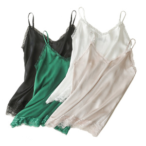 Image 3 - SuyaDream Women Silk Camis 100%Real Silk Satin Sexy V neck lace Camisoles 2020 Summer Bottoming T shirt Black White Tanks