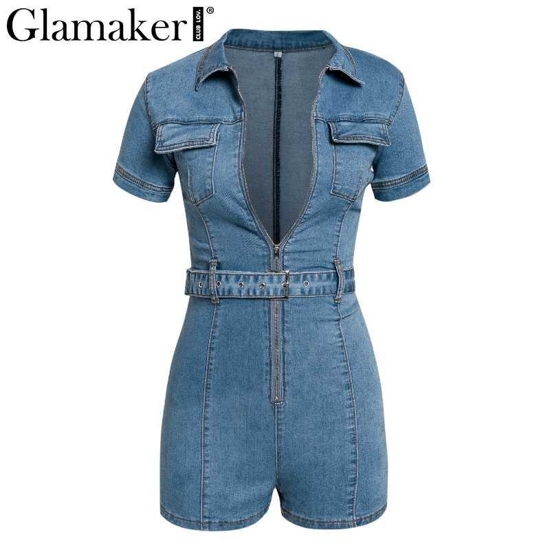 Glamaker azul denim macacão feminino curto bodycon verão streetwear jeans playsuit feminino moda festa clube geral