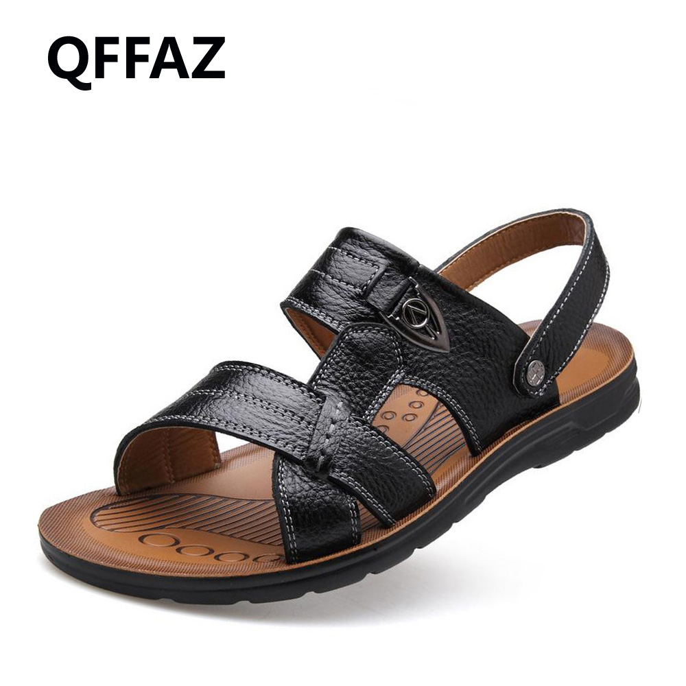 QFFAZ Fashion Men Sandals Casual Shoes Classic High Quality Solid Soft Male Beach Sandals Breathable Flats Shoes Plus size 39-47