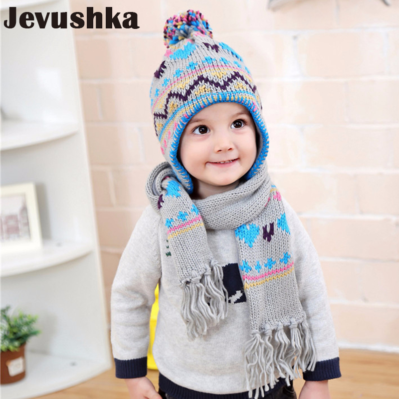 Winter Pompom Hat Scarf Set Baby Boy Hats Scarves For Kids Beanie Kid Hat HT016