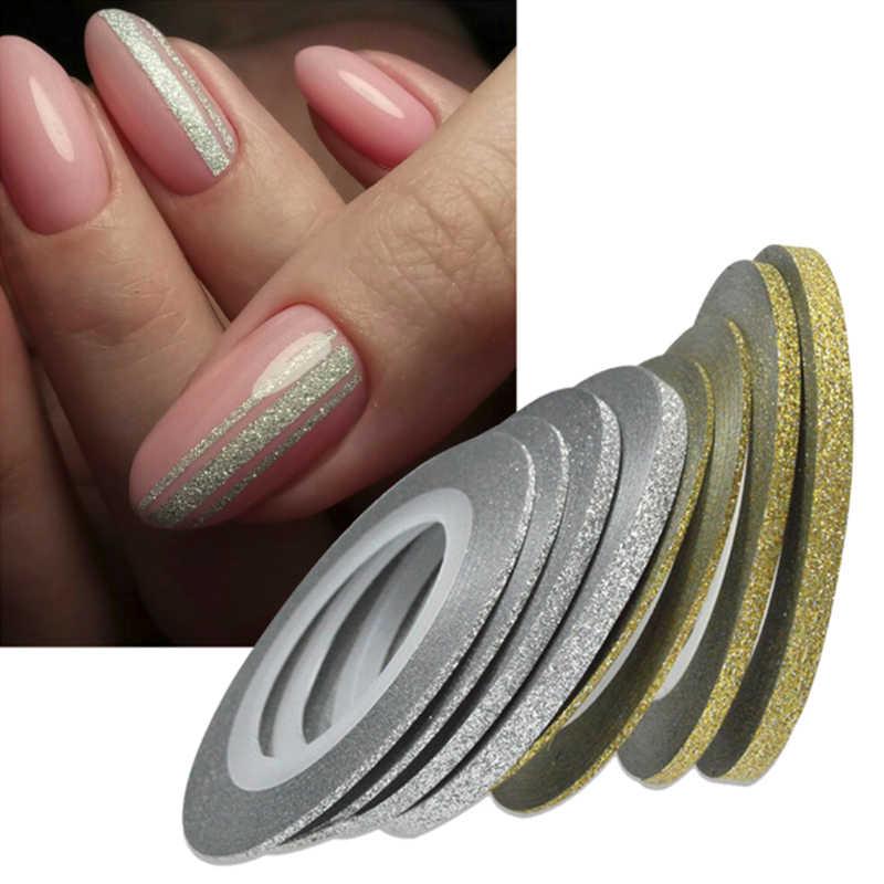 1 ม้วน 20 M Nail Art Glitter ทองเงินลอกเทปสายแถบเครื่องมือตกแต่ง 1mm2mm3mm สติกเกอร์เล็บ DIY อุปกรณ์เสริม