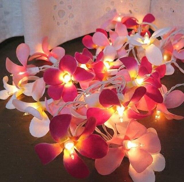 Land Rustieke Bruiloft Decoratie Roze Frangipani Kunstbloemen LED ...