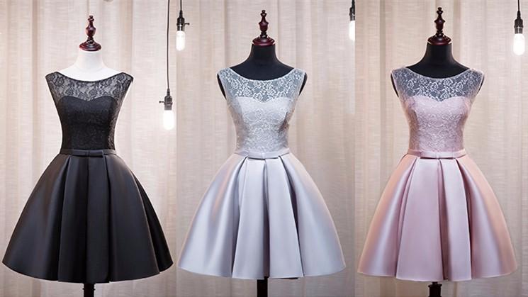 Lace Satin A-Line Sleeveless Short Evening Dress 1