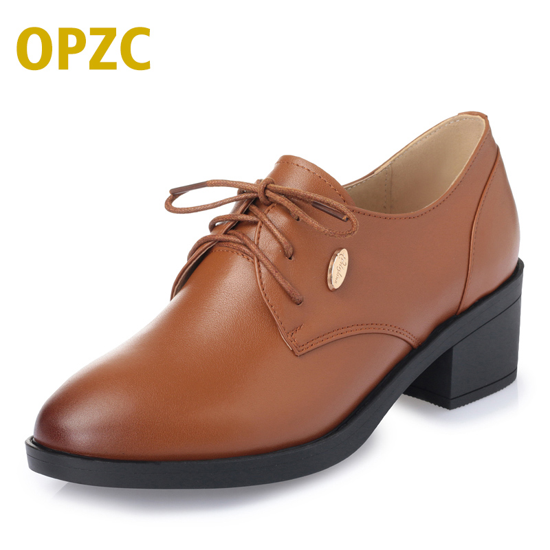 OPZC 2018 NEW Women Genuine leather shoes women pumps Casual Shoes Lace Up Womens Shoes Retro Brogues Fashion spring femal shoes beffery spring patent leather oxford shoes women flats pointed toe casual shoes lace up soft leather womens shoes retro brogues