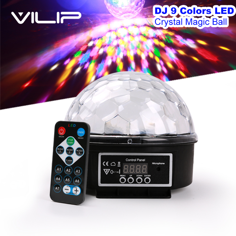 ФОТО DJ 9 Color LED Sound Activated Party Light Rotating Laser Projector Lamp DMX Control Crystal Magic Ball Disco Light Strobe TOY H