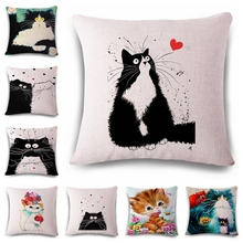 colorful smart creative cat Cushion printed(No Filler) linen Family affection Sofa Car Seat family Home Decorative Throw Pillow