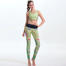 Classic woman female sports fitness body building running quickly dry pattern printing clothes wear bra pants suits
