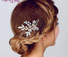 Metting Joura Wedding Party Metal Leaf Flower With Faceted Beads Romantic  Hair Comb Bride Bride Hair Accessories