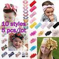 10 styles 5 Pcs/Lot Turban Flower Head Wrap Headband Baby Girls Kids Bow Stripe Hairband