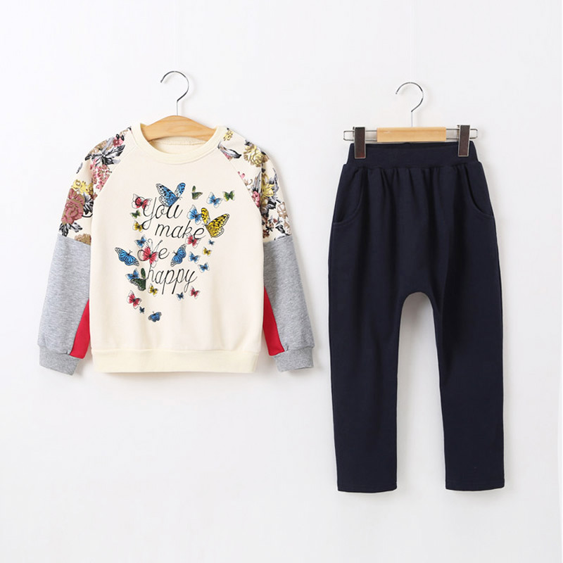 2017 New 2pcs spring autumn children clothing set baby girls sports suit Butterfly pattern casual costume 2015 summer brand baby boy set children three piece suit set 3pcs girls new cotton spring casual clothing child year suit 3 pcs