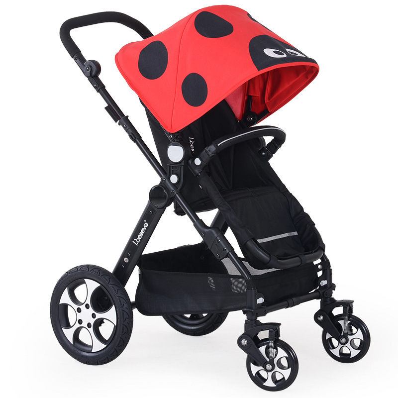 Fashion Superweight Baby Stroller Portable High Landscape Soft Baby pram Cart Aluminum Shockproof 3 in 1 Folding Strollers mige stroller baby trolley cart folding baby carriage baby cart can be lying on the baby cart portable cart pram with 3 gift