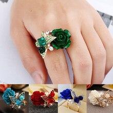 5 cores nova chegada moda rosa borboleta com anéis de cristal elegante para as mulheres ajustável noivado festa anel jóias presente