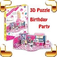 New diy quà tặng leer sinh nhật đảng 3d câu đố phim hoạt hình mô hình cô gái búp bê đảng nhà trẻ em thủ công giáo dục học tập đồ chơi bộ sưu tập