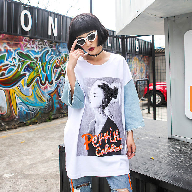 Female Cotton T-shirt Harajuku patchwork printing character pattern tops Women loose casual hiphop T-shirt spring summer white
