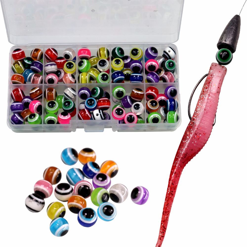 1 Box Fish Eye Fishing Beads Mixed Color Rigs Fishing Beads Kit Fishing Tackle