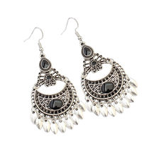 Lusion Jewelry Vintage Tibetan Sliver Hollow carving Drop Earring For Woman Retro Long Cheap Earrings Bohemian Accessories Femme(China)