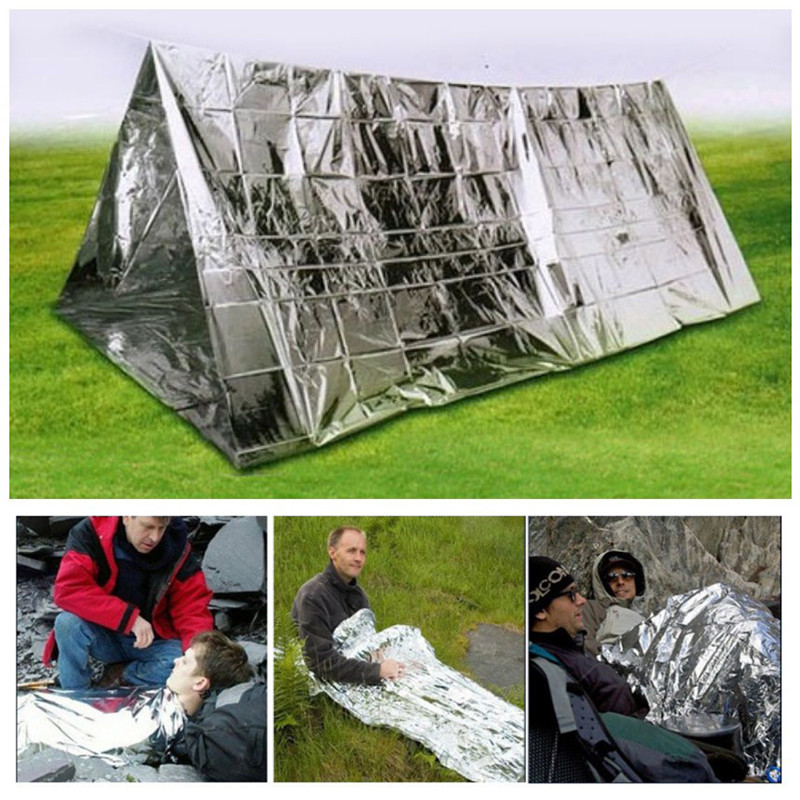 Temporary Shelter Survival Disaster : Sliver portable survival kit emergency shelter tent