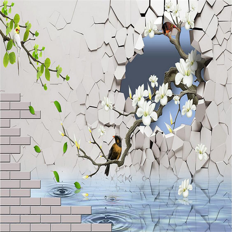 Custom Any Size Wallpaper Birds Flowers Photo Wall Mural 3d Wall Murals Embossed TV Background Kitchen Study Bedroom Living Room fashion circle flowers birds large mural wallpaper living room bedroom wallpaper painting tv backdrop 3d wallpapers for wall