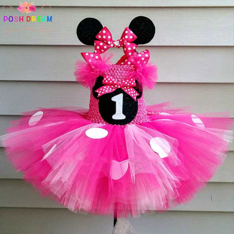 POSH DREAM Minnie Mouse Tutu Dress and Headband Set Hot Pink Minnie Mouse Birthday Tutu Dress Minnie Mouse Tutu Dress for Girls