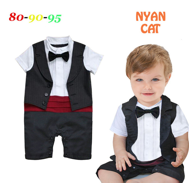 d99f1bd09621 Free Shipping 3pcs lot Infant Toddler Baby Boy s Formal Wear Tuxedo Rompers