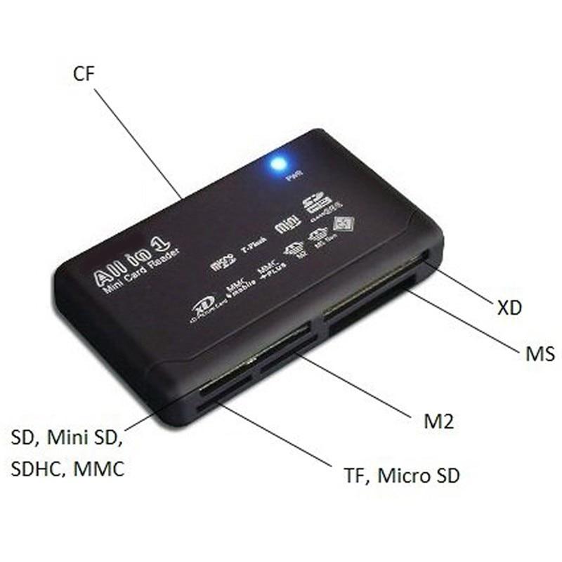 WHITE ALL IN 1 MULTI MEMORY CARD USB READER SD SDHC MINI MICRO M2 MMC XD CF MS