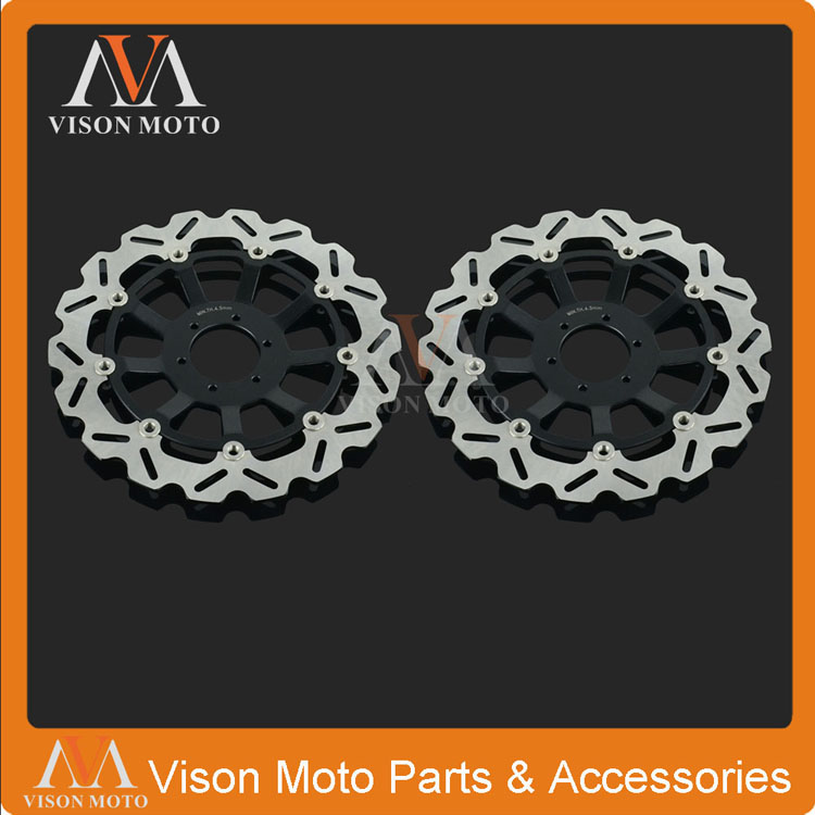 2PCS Front Floating Brake Disc Rotor For Honda CBR1100XX Super Blackbird 99-08 CB1100SF X-11 SC42 00-04 CB1300 SC401284CC 01-02 keoghs motorcycle brake disc brake rotor floating 260mm 82mm diameter cnc for yamaha scooter bws cygnus front disc replace
