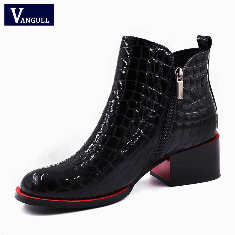 Vangull Kadın Botları 2018 Yeni moda ayakkabılar Kadın Hakiki Deri siyah yarım çizmeler Kış sıcak Yün Kar Kare topuk Çizmeler