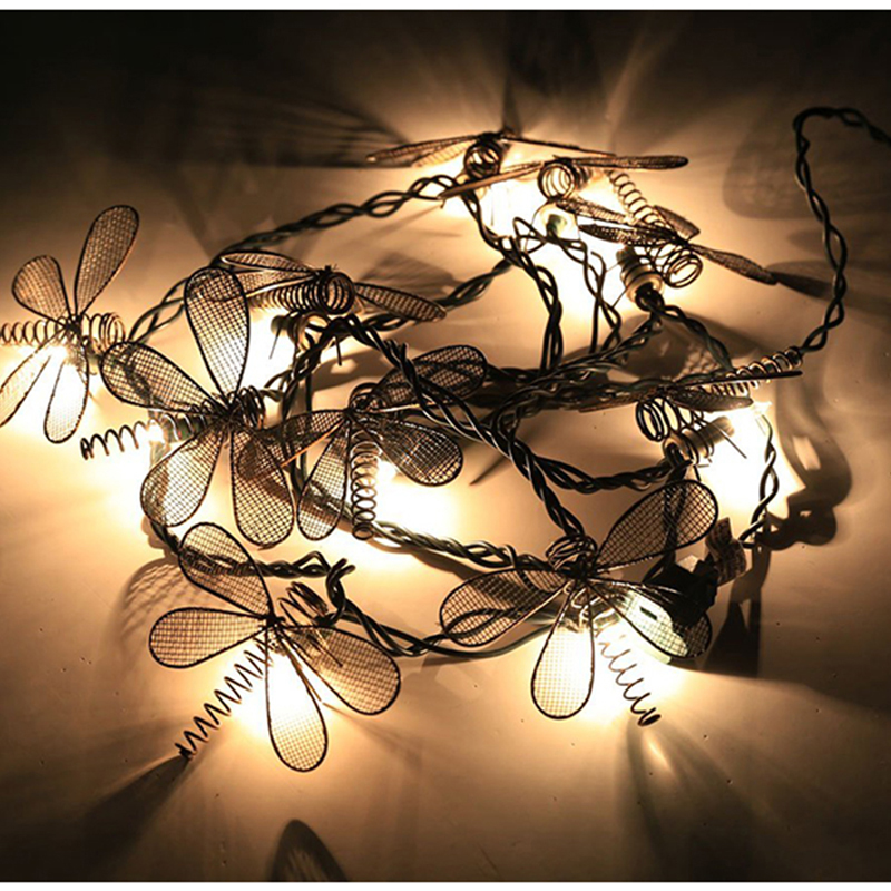 3M 20LEDs Christmas Garland LED String Light With Fairy Retro Art Dragonfly For  Xmas/New Year Holiday Garden Decoration