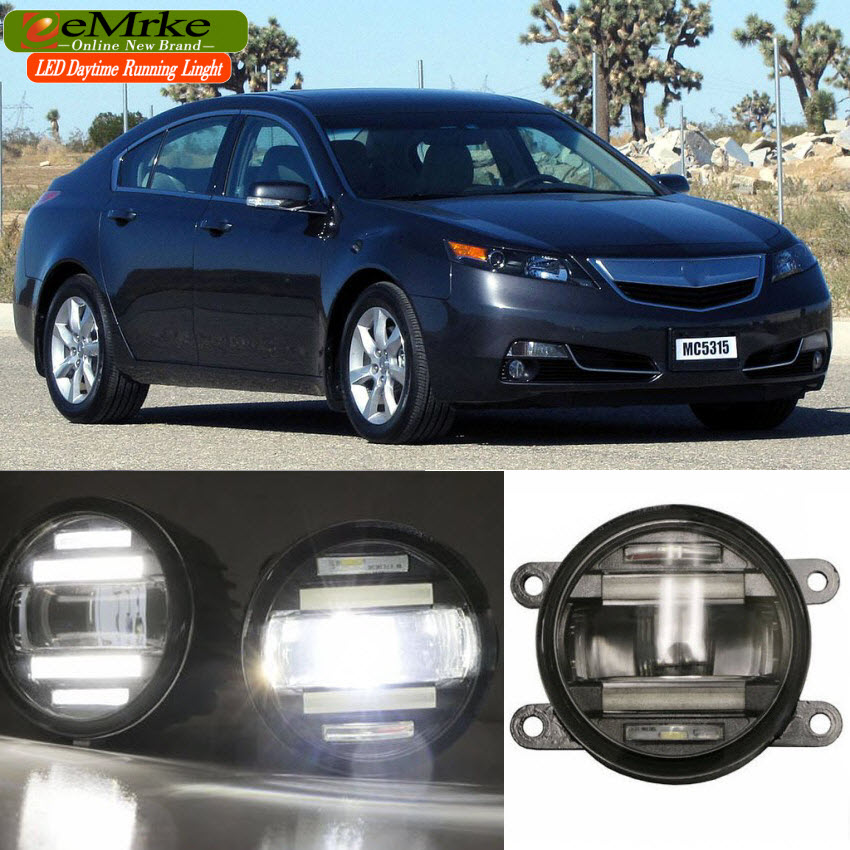 eeMrke Car Styling For Acura TL 2011-2015 2in1 Multifunction LED Fog Lights DRL With Lens Daytime Running Lights eemrke car styling for opel zafira opc 2005 2011 2 in 1 led fog light lamp drl with lens daytime running lights