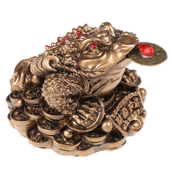 Feng Shui Toad Money LUCKY Fortune Wealth Chinese Golden Frog Toad Coin Home Office Decoration Tabletop Ornaments Lucky Gifts 9